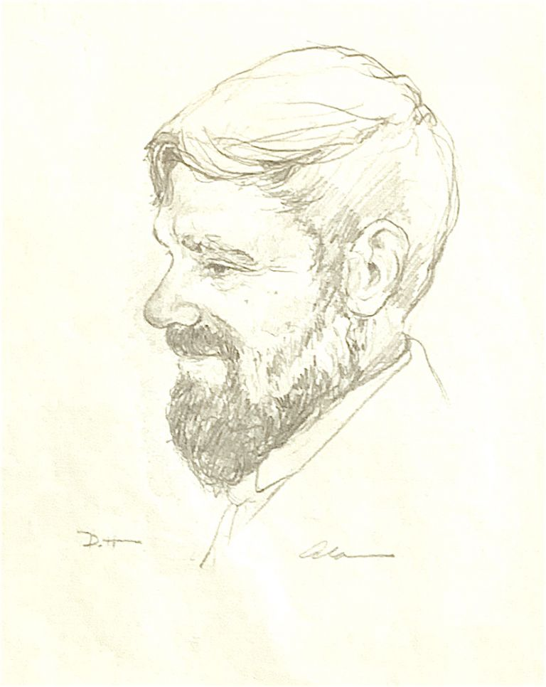 Original Pencil Drawing Portrait of D.H. Lawrence. D. H. Lawrence, Alan James Robinson.