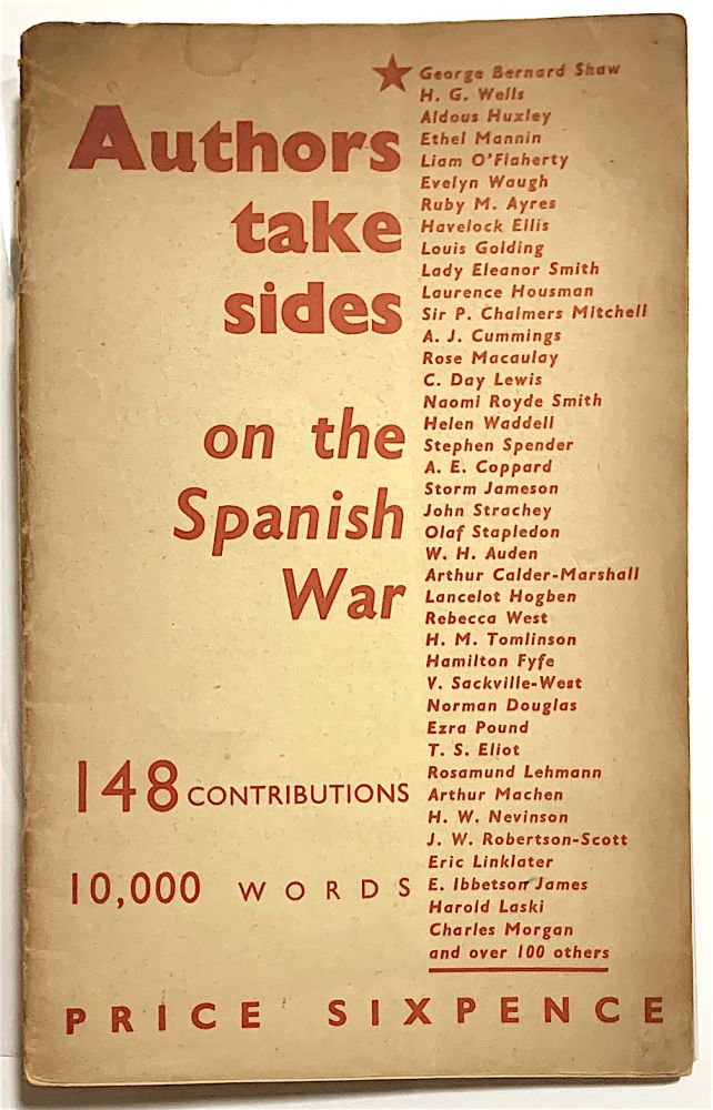 Authors Take Sides on the Spanish War. Nancy Cunard, comp.