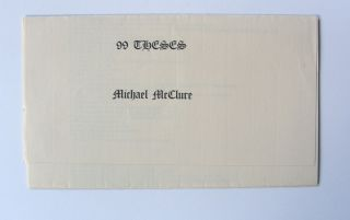 99 Theses. Michael McClure