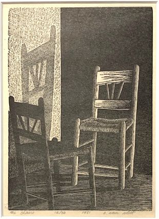 The Chairs [wood-engraving]. Claire Van Vliet