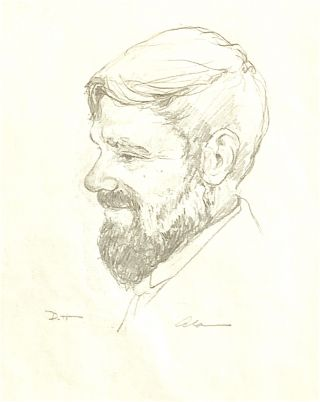 Original Pencil Drawing Portrait of D.H. Lawrence. D. H. Lawrence, Alan James Robinson