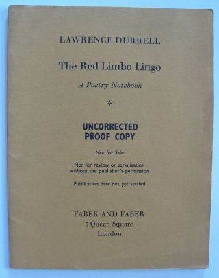 The Red Limbo Lingo [uncorrected proof]. Lawrence Durrell